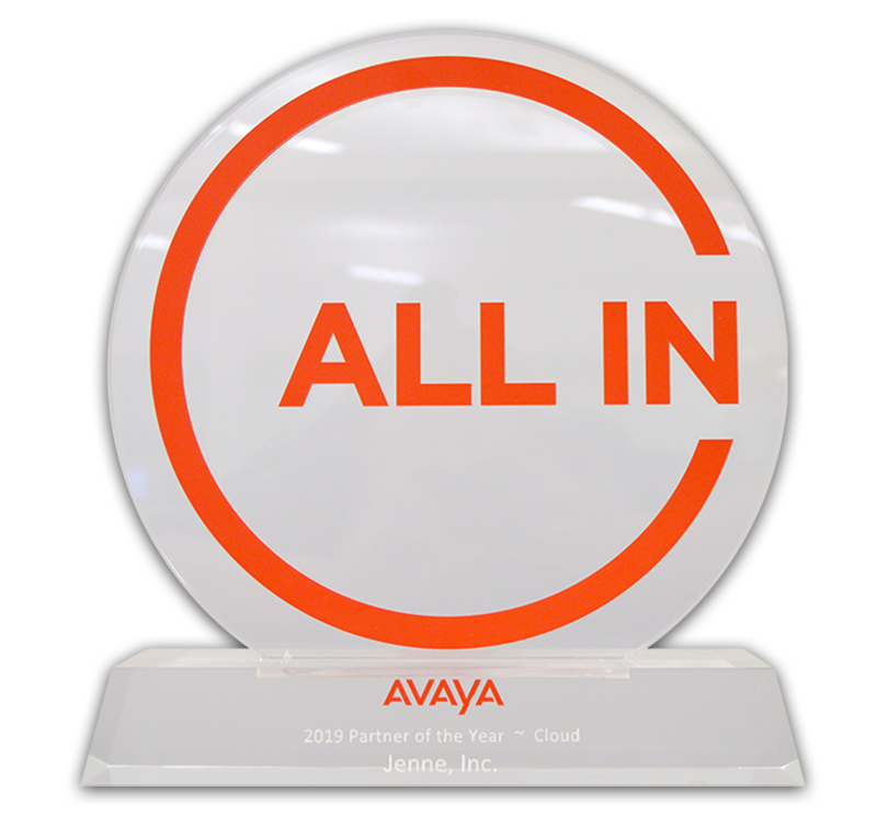 Jenne, Inc. Receives 2019 Cloud Partner of the Year Award from Avaya